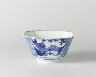 Square bowl with Chinese ladies in a landscape.Rijksmuseum