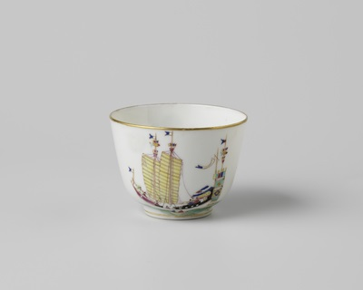 Cup with a Chinese junk and the arms of Amsterdam.Rijksmuseum