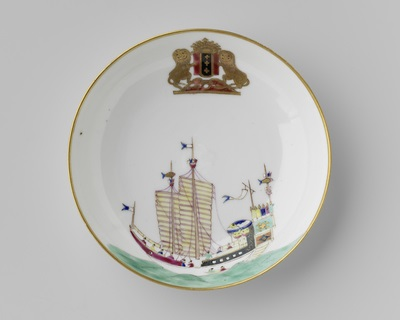 Saucer with a Chinese junk and the arms of Amsterdam. Rijksmuseum
